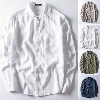 Men's Casual 100%Cotton Formal Long Sleeve Shirt Collarless Retro Blouse Tee Top