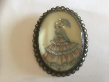 Antique vintage TLM Sterling pin/brooch/pendant hand painted lady w marcasites