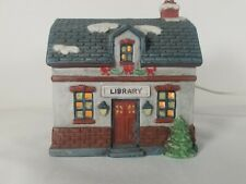 Christmas Village Americana Porcelain Collection Library Lighted Holiday