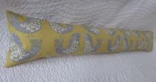 Draught Excluder Handmade Cotton Fabric Scandi Bird Print Mustard Yellow Grey