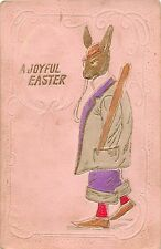 A77/ Easter Greetings Holiday Postcard c1910 Dressed Rabbit Club Gold-Lined 5