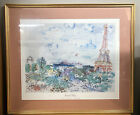 "RAOUL DUFY,'PARIS, EIFFEL TOWER,1935' AUTHENTIC 1991 ART PRINT In 32 X 27"" Frame"
