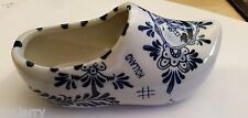"DELFT BLUE & WHITE CERAMIC ""WOODEN"" SHOE HOLLAND DECORATIVE 6"" LONG HAND PAINTED"