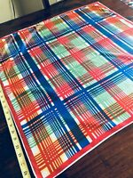 BESTMAID VTG SCARF BRIGHT PLAID HEAD WRAP