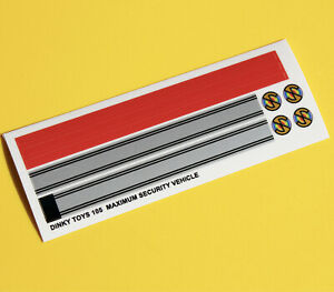 DINKY No. 105 MAXIUMUM SECURITY VEHICLE Metallic sticker decal reproductions