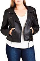 City Chic Women's 16w Plus Size Faux-Leather Biker Jacket, Black, $129, NwT