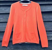 SEASALT DELUXE GREY SEAL CARDIGAN, Tangerine Merino Wool/Alpaca Blend UK12 EU40