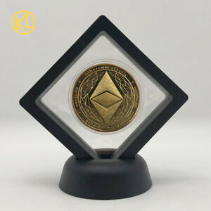 Nice Gold ETH Ethereum Cryptocurrency Metal Digital Money Crypto Coin with Stand