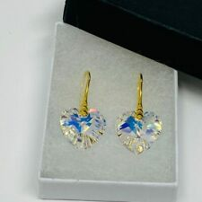 925 Silver Gold Earring Heart Jewellery AB Made With Swarovski® Crystals