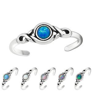 Zehenring - echt Silber 925 - Zehring Opal Fußring verstellbar Geschenk Freundin