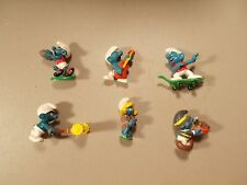 Lot of 6 Vintage Smurf Peyo Schleich  Figures LAWN MOWER TURKEY GUITAR lot7