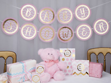 BABY SHOWER GARLAND FOR BABY GIRL  - PINK AND GOLD - BABY SHOWER DECORATION