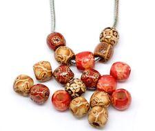 Lot 10 Perle en Bois Europeen style 12mm Grand Trou 5mm Perle etnique