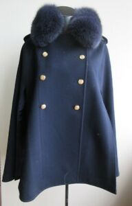 Women's New 100% Superfine Wool Navy Blue Cape Fox Fur LORO PIANA Made in Italy