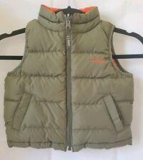 LL BEAN Youth Boys Goose Down Insulation Puffer Vest  Reversible 3T Green Orange