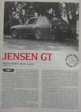 1976 Jensen GT Original Road & Track magazine Road test