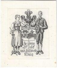 FRITZ CERNAJSEK: Exlibris für Dr. Josef und Elisabeth König, Tracht