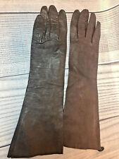 Vintage Stix Baer and Fuller Women's Brown Leather Gloves Made in France Evc