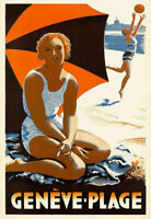329506 Geneve plage Beach Sea Sand Travel PRINT POSTER DE