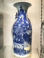 Antique large Chinese vase celadon  delft blue delftware polychrome