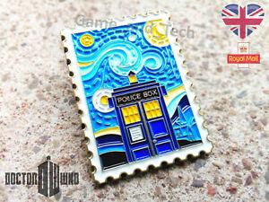"DOCTOR WHO ""Van Gogh Starry Night"" Postage Stamp Pin / Badge - Tardis Police Box"
