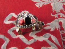 antico mandrino in metallo oro e smaltato strass tartaruga