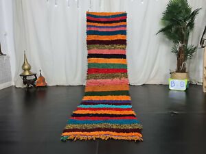 """Handmade Moroccan Vintage Runner Rug 2'1""""x8' Striped Colorful Cotton Wool Carpet"""