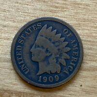 FREE SHIP! VG/F 1909 Indian Head Cent- 112 Year Old Penny - US Type Set Coin LT1