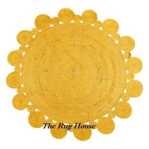 Rug Round 100% Jute Natural  Braided Reversible Rustic Modern Living Look Rugs