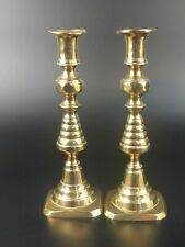More details for late victorian brass pair candlestick holder