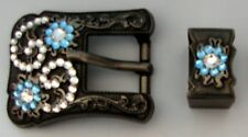 Antique Buckle & Keeper BLUE BLING for Headstall Reins Saddle spurs Chaps