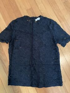 EUC - Ann Taylor LOFT Black Lace Blouse - size M