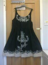 JOE BROWNS  Black Cotton Summer Flared Dress - size 26 UK