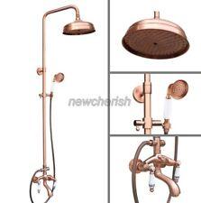 Red Copper Antique Brass Bathroom Rain Shower Faucet Set Tub Mixer Tap nrg534