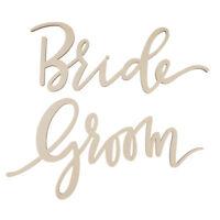 2pcs/Set Unpainted Bride Groom Wooden Chair Banner Sign Wedding Photo Prop