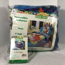 Sesame Street My Neighborhood Full Reversible Comforter Pillow Sham 2000 NEW
