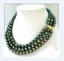 """AAA 8-9mm  natural  black tahitian pearl necklace  18"""" 19"""" 20 """""""