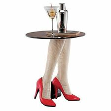 WU02530 - Fishnets & Heels Sculptural Table - Retro 1950's Pop Art - Red Pumps!