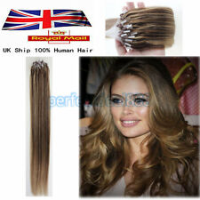 """14""""-26"""" Micro Loop Ring Bead Indian Remy HALO Human Hair Extensions 100s UK 1st"""