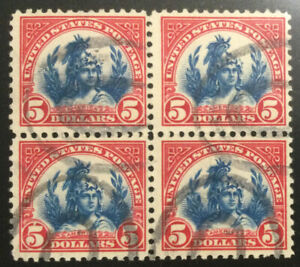TDStamps: US Stamps Scott#573 $5 Used Perf Fold Block of 4