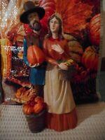 "Thanksgiving Fall Pilgrim Man & Woman 12"" Resin Figurine, NWT"