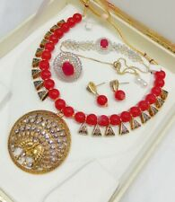 Beads Contemporary Copper Brilliant Women Necklace Set Combo Traditional Red