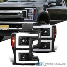 For 17-19 Ford F250 Black Projector Headlights w/ Switchback Sequential LED DRL