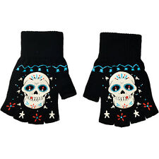 Women's Too Fast Apparel Sugar Skull Board Fingerless Gloves Day of the Dead