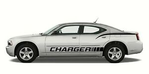 fits: Dodge Charger 05-10 4 piece side graphics 01 Decal Sticker Rocker Panel