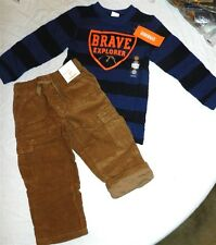 Corduroy Pant Set Gymboree Stripe Top 4pc Brown Fall Winter Boys 18-24 mo New