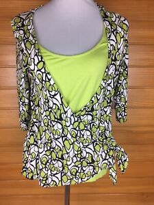 Marco Polo Green Stretch Patterned Crossover Top Size 12 (S) EUC