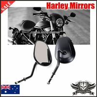 BLACK TAPERED MIRRORS HARLEY TOURING SOFTAIL DYNA XL FATBOY ELECTRA GLIDE FLHX