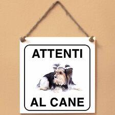 Biewer 3 Attenti al cane Targa piastrella cartello ceramic tile