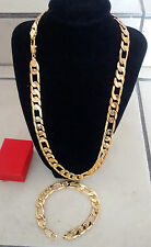 18K 60cm 12mm Men's Stoneless Yellow Gold 3+1 Figaro Necklace & Bracelet Set+Box